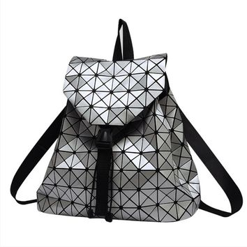 Women Geometric Plaid Backpacks Drawstring Bag Holographic Backpack