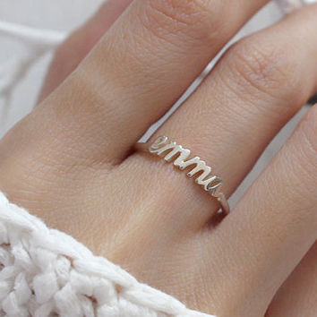 20% OFF -- Stackable Name Ring - Personalized Children Name Ring - Customized Name Jewelry - Bridesmaid Gifts - New Mom Gift