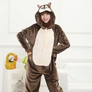 Chipmunks Animal Cosplay Costume Onesuit Hoodie For Adult Women Men Halloween Holiday Party Flannel Full Length
