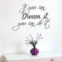 Wall Decal Quote Vinyl Sticker Family If You Can Dream It You Can Do It Home Interior Design Living Room Bedroom Decor Friend Birthday Gifts KT122