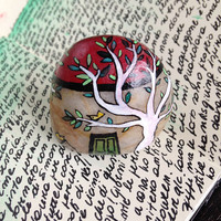 Art stone miniature stone house with white trees - Handpainted decor for home and for office