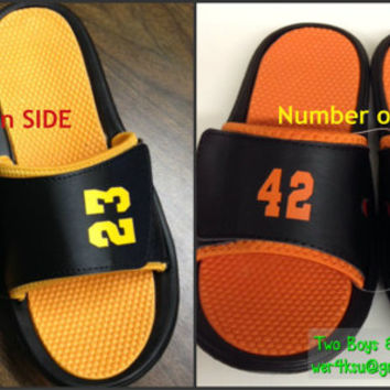 Personalized Custom Sports Sandal Slides perfect for baseball softball soccer football any athlete to wear Custom Name Number