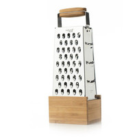 natural bamboo;recycled stainless steel;stainless steel box grater;box grater with catch;natural kitchen tool