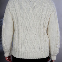 Sweater mens hand knit  White XXL  SALE