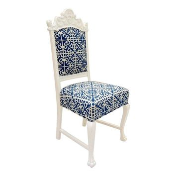 Pre-owned Hollywood Regency White & Blue Accent Chair