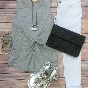 Middle Knot Tank Top: Grey