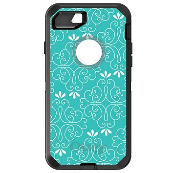 DistinctInk™ OtterBox Defender Series Case for Apple iPhone / Samsung Galaxy / Google Pixel - Teal White Floral