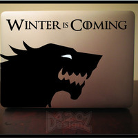 Winter is coming wolf- Macbook Air, Macbook Pro,  Macbook decals, Sticker Vinyl Mac decals Apple Mac Decal, Laptop, iPad