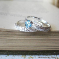 Square Princess Cut Blue Topaz Engagement Promise Stacking Ring