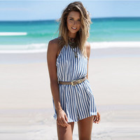 Blue Stripe Backless Romper
