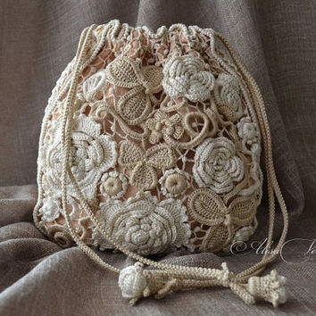 Bag, pouch bag, cosmetic bag, Irish crochet, lace, purse, boho, retro, photo printing,