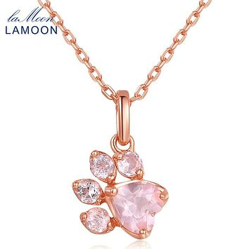 LAMOON 100% Natural Gemstone Rose Quartz Animal Claws Necklace &Pendant 925 Sterling Silver Fine Jewelry For Women LMNI027