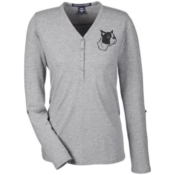 Boston Terrier Embroidered Ladies Henley
