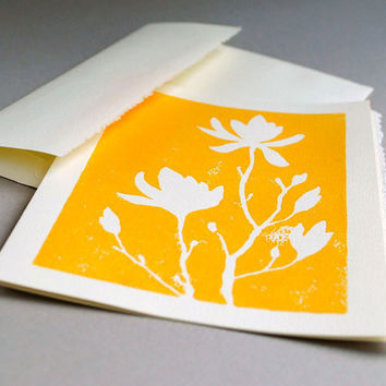 Magnolia Blank Notecard Yellow Linocut Print 5 x7 by CursiveArts
