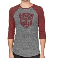 Transformers Autobots Logo Adult Arctic Gray and Rustic Red Baseball Raglan T-shirt - Transformers - | TV Store Online