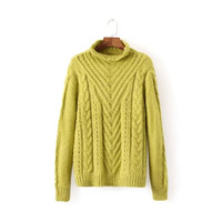 Twist Turtle-Neck Long-Sleeve Sweater