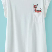 White Short Sleeve Deer Print Pocket T-Shirt