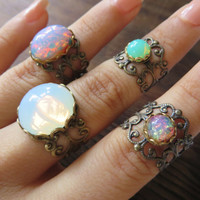 Mint Green Opal Midi Bronze Adjustable Ring Stacking Lace Filigree- Glass Cabochon Stone Knuckle Finger Jewelry Wrap