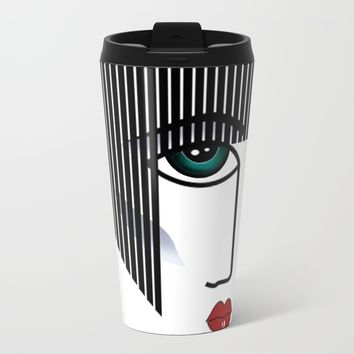 Retro Girl Metal Travel Mug by Salome