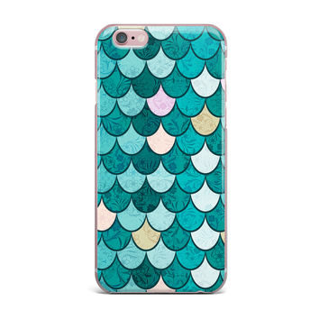"Famenxt ""Mermaid Fish Scales"" Teal Nautical Illustration iPhone Case"