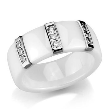 Ceramic & Stainless Steel with CZ Ring
