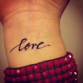 Temporary Handwritten Love Tattoo by nguyenpaperco on Etsy
