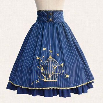 PEAPU3S 2017 Fall Classic Lolita Skirt Vintage Style Striped A Line Skirt with Cage Embroidery