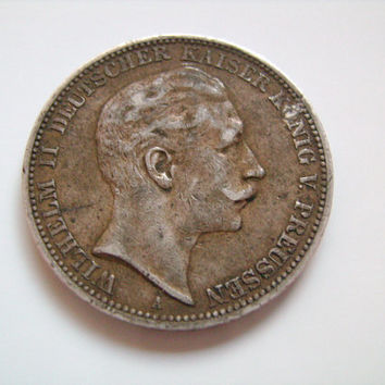 1912 German States Prussia 3 Drei Marks 90 Percent Silver Coin with image of Kaiser Wilhelm II