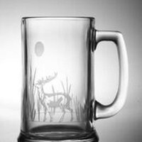 4 Deer Etched Beer Mugs