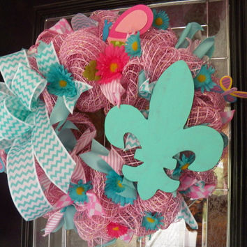 Deco Mesh Wreath- Spring Wreath - Summer Deco Mesh - Fleur de lis  - Spring and Summer Decoration