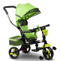 Children's Tricycle 360 Degrees Rotated Baby Trolley Umbrella 3 Wheels Kids Bike Hand Push Foldable Safety Training Stroller
