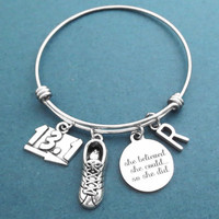 Personalized, Letter, Initial, 13.1 Marathon, She believed, she could..., so she did, runner, Silver, Bangle, Bracelet, Challenge, Gift
