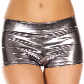Silver Dark (Metallic) Solid Color Booty Shorts