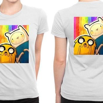 Finn And Jake Adventure Time B 2 Sided Womens T Shirt
