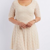 PLUS SIZE LACE CAGED-BACK SKATER DRESS