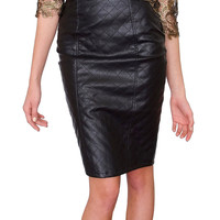 Refined Pencil Skirt - Black Leather