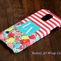 Stripes Floral Custom Monogram 3D-Wrap Samsung Galaxy S5 Case Galaxy S4 Case Galaxy S3 Case Galaxy Note 3 and Note 2 Case