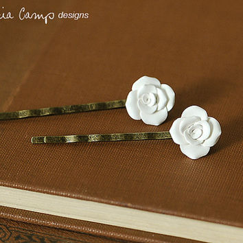 White Clay Rose Hair Pins - Set of Two - Ready to Ship - Gifts under 25