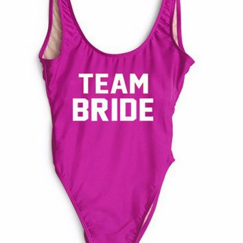 TEAM BRIDE Text Print - Women's Sexy Sporty One-Piece Swimsuit - Backless, Thong