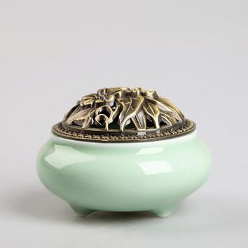 Ceramic Coil Incense Burners Holder with Metal Copper Cover  D