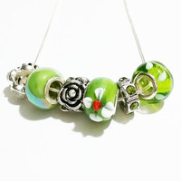 Charm Necklace / Green Charm Necklace / Green and Silver Charm Necklace / Lamp Work Bead Necklace / Charm Jewellery / Easter Jewelry