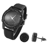 Men's Hip Hop Iced Out Techno Pave Black Gold Tone Watch & Earrings Combo