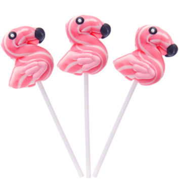 Pink Flamingo Shaped Swirl Pops: 12-Piece Box