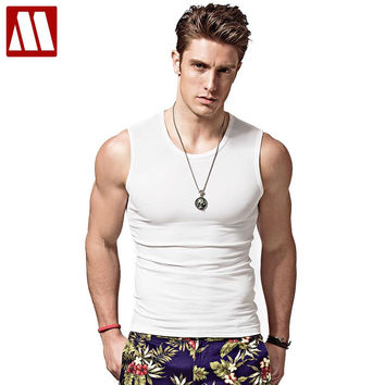 Men's bodybuilding tank tops for Muscular, sleeveless singlet and undershirt in summer big muscle T-shirts men cotton vest