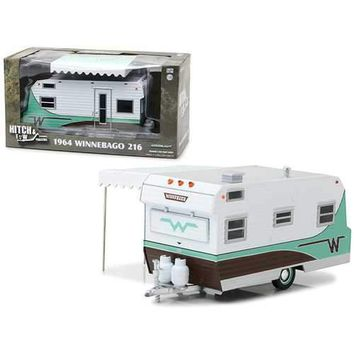 1964 Winnebago 216 Travel Trailer Green Hitch and Tow Trailers Series 3 for 1/24 Scale Model Cars and Trucks 1/24 Diecast Model by Greenlight