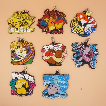 Pocket Monster Anime Pikachu Mewtwo Magikarp Meowth Charmander Psyduck Eevee Poketto Monsuta Rubber Keychain
