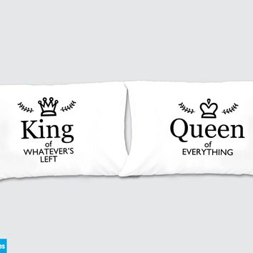Queen of Everything - King of whatever left Matching Pillow Cases - Awesome Gift for cute couples - Price is for 2 Pillow cases
