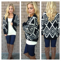 Black & White Aztec Knit Cardigan