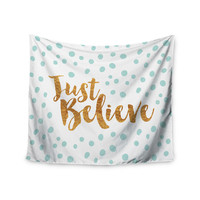 """Nick Atkinson """"Just Believe"""" White Gold Wall Tapestry"""