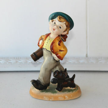 "Occupied Japan Hummel Type Figurine ""Boy Goes Golfing"" Black Scottie Dog at Feet , Vintage 40's Hummel Copy , Collectible Figurine"
